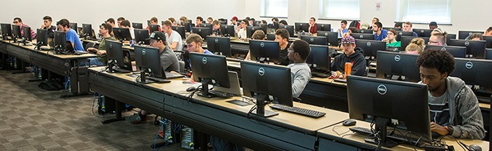 Students at work in a computer lab