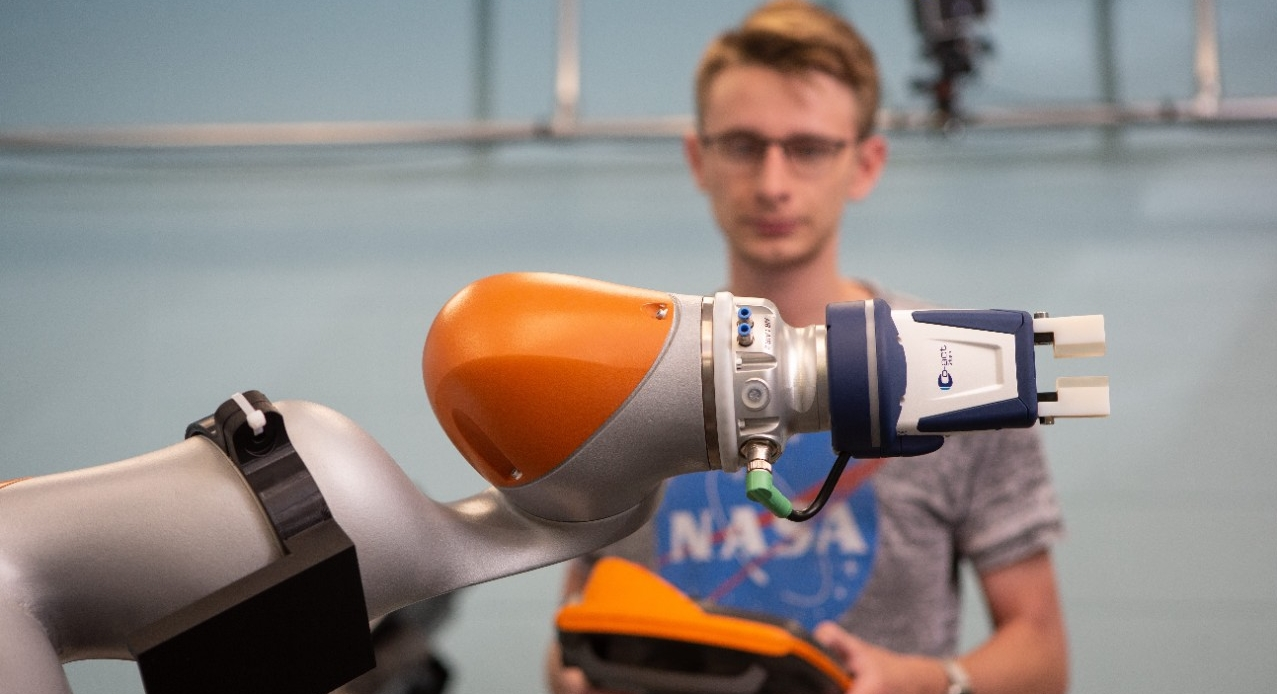 Student working in a robotics lab
