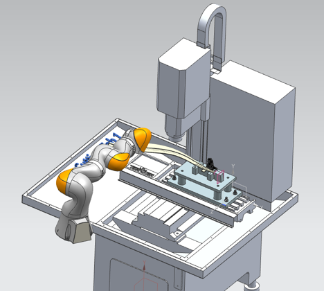 Diagram of robotic cell for removing tabs from engine blade