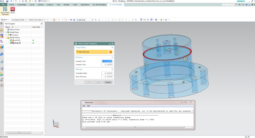 Custom GUI and result output for thin to thick transition in Siemens NX Modeling