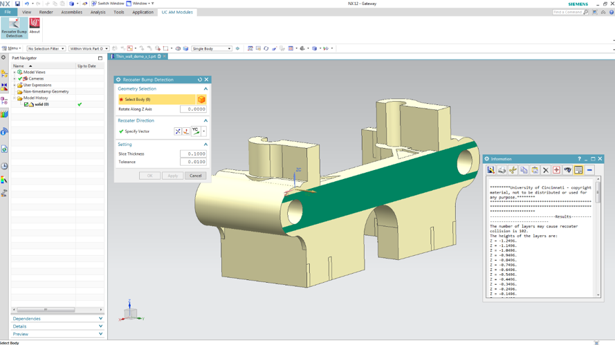 Custom GUI and result output for recoater arm collision detection in Siemens NX Modeling