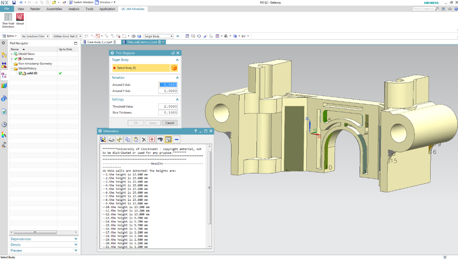 Custom GUI and result output for thin wall detection in Siemens NX Modeling