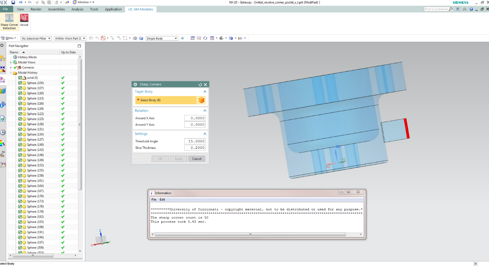 Custom GUI and result output for sharp corner detection in Siemens NX Modeling