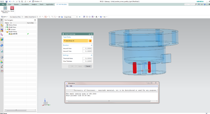 Custom GUI and result output for small opening detection  in Siemens NX Modeling