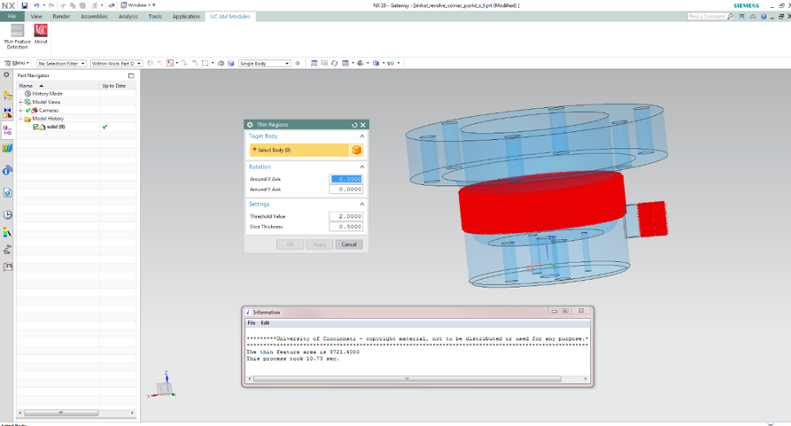 Custom GUI and result output for thin feature detection  in Siemens NX Modeling