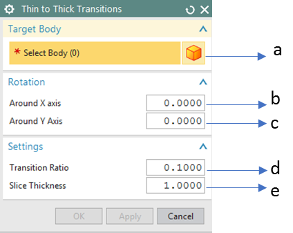 Thin to Thick Transition GUI