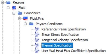 Figure 30 Thermal specification at the wall
