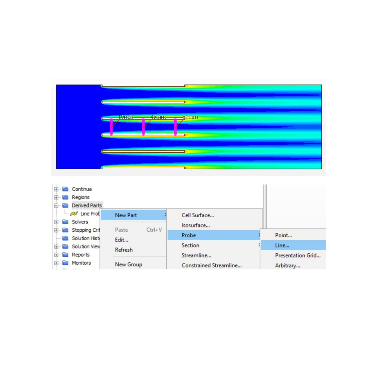 Figure 55 Create 3 line probes in between fins